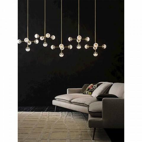 5 lampor upphängningslampa i naturligt mässing och glas - Molecola av Il Fanale