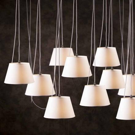 Fjädringslampa med 12 lampor med vit kromhögtalare