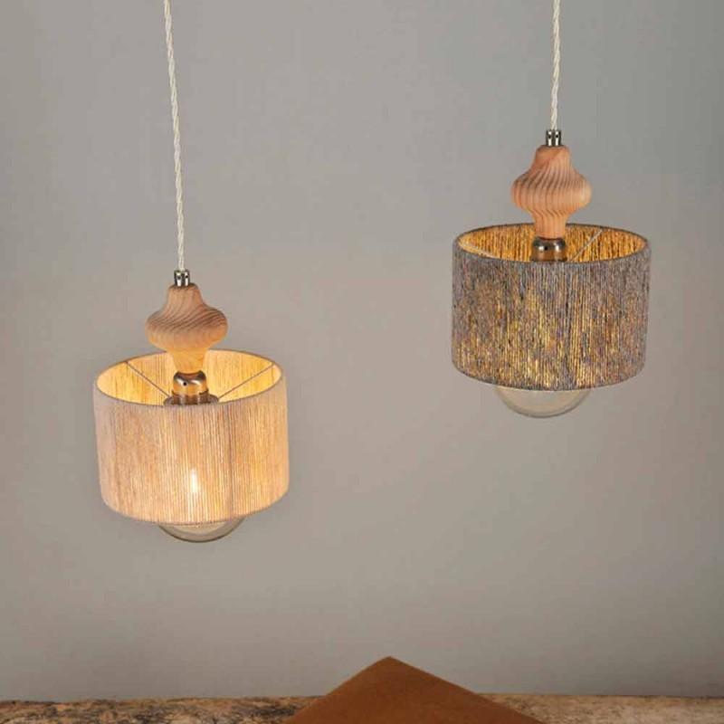 2 lampor hänglampa med Bois träinsats