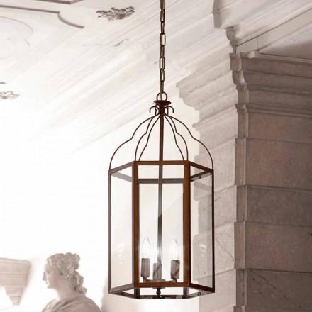 Taklampa med 3 lampor mässing och glas Turandot