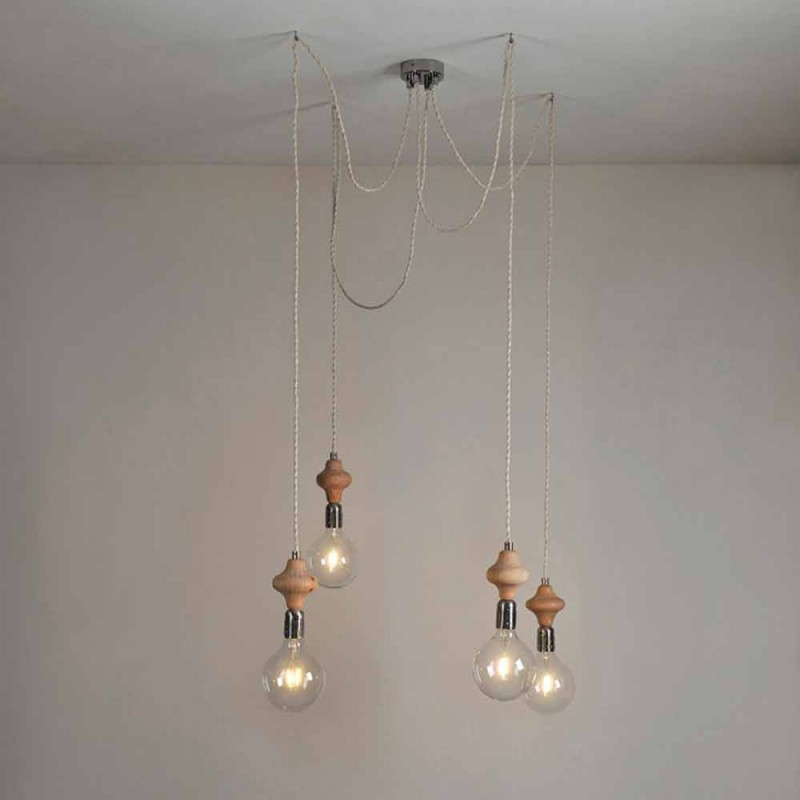 4 lampor hänglampa med Bois träelement