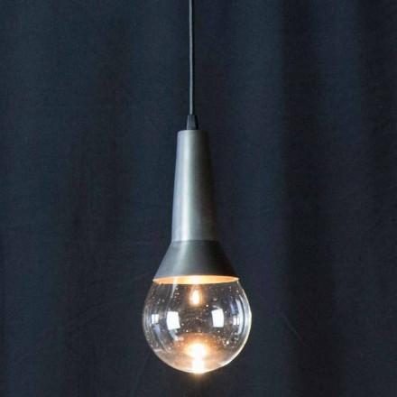 Handgjord upphängningslampa i svart järn och glas tillverkad i Italien - Suspension