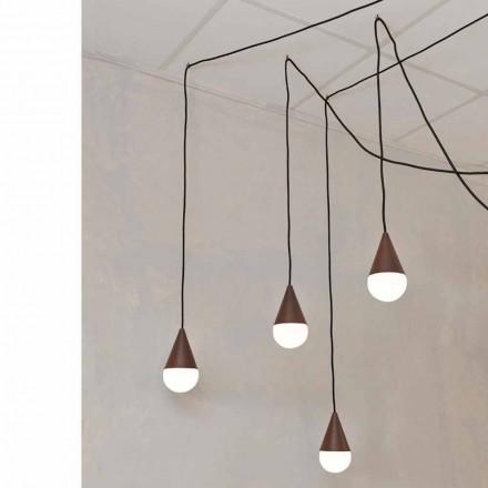 Design hänge lampa med 4 lampor Drop, corten färg