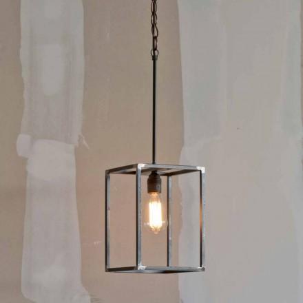 Handgjord hänglampa i järn med kedja tillverkad i Italien - Cubola