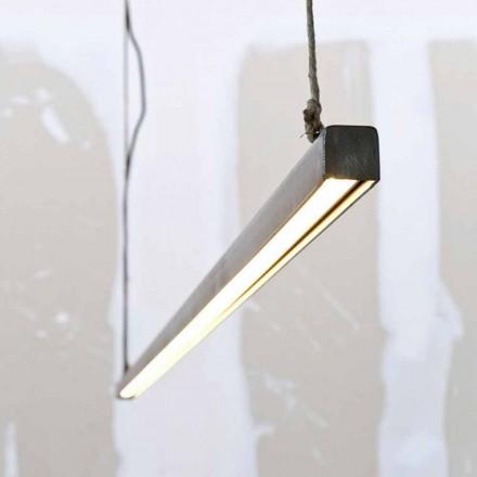 Upphängningslampa i järn och rep med integrerad LED tillverkad i Italien - Stecca