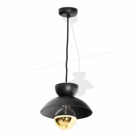 Upphängningslampa i metall med modern gulddetalj tillverkad i Italien - Valta