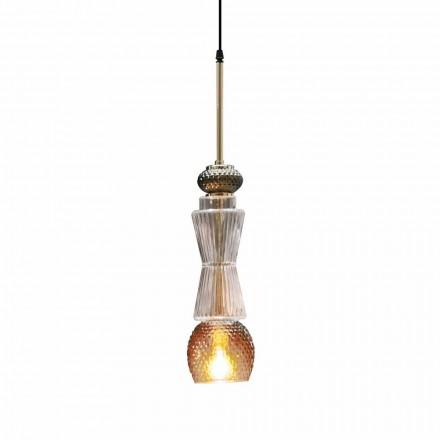 Upphängningslampa i Murano-glas med antik dekoration Tillverkad i Italien - Missi