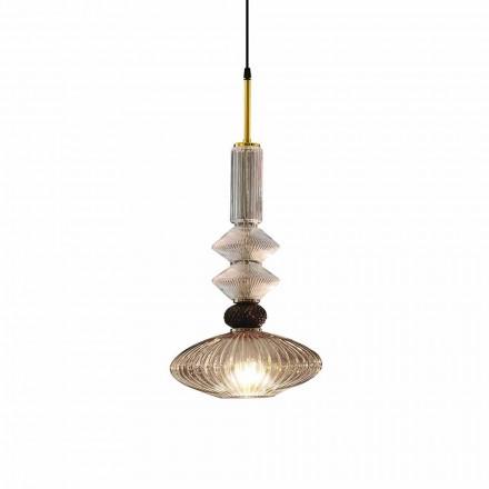 Upphängningslampa i Murano-glas och tyg, tillverkad i Italien - Missi