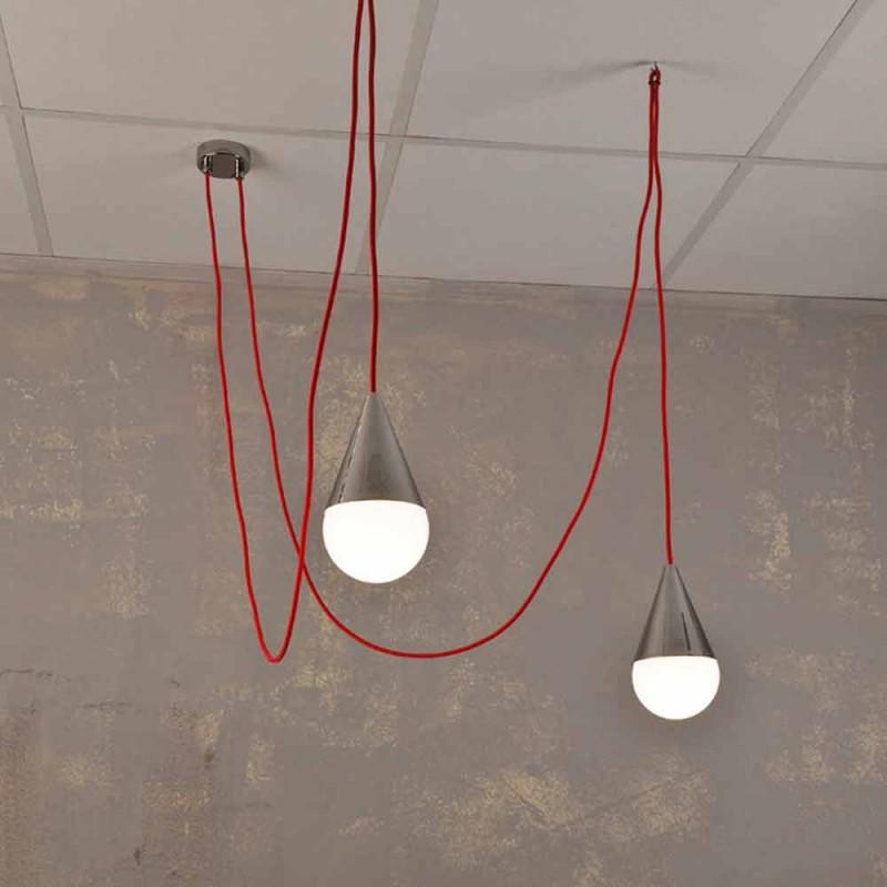 Modern hänglampa med 2 lampor med röd kromkabel