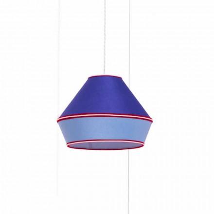 Modern upphängningslampa med blå bomullsskärm Tillverkad i Italien - Soya