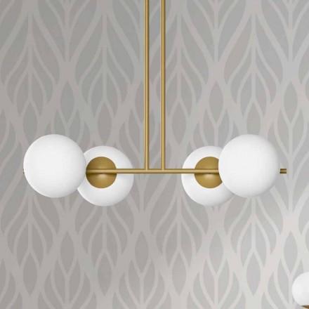Modern upphängningslampa i metall och vitt glas tillverkat i Italien - Carima