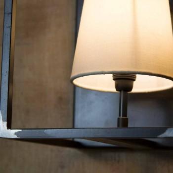 Artisan vägglampa i svart järn med 2 lampskärmar tillverkad i Italien - torn