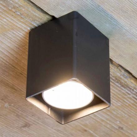 Hantverkslampa i svart järn med kubisk form tillverkad i Italien - Cubino