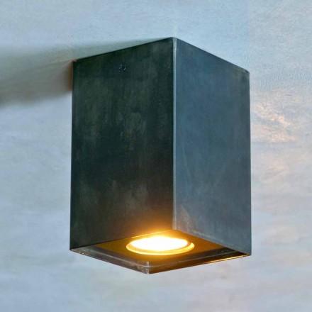Kubisk lampa i svart järn med frostade svetsar tillverkade i Italien - Cubino