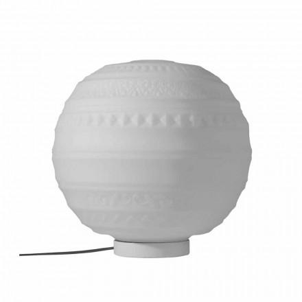 Bordslampa i vitt satinglas och metall modern design - Morse