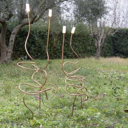 Utomhuslampa i naturlig koppar med dekorativt glas tillverkat i Italien - Fusillo