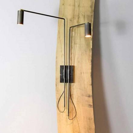 Vägglampa i järn och hantverksaluminium tillverkad i Italien - Gemina