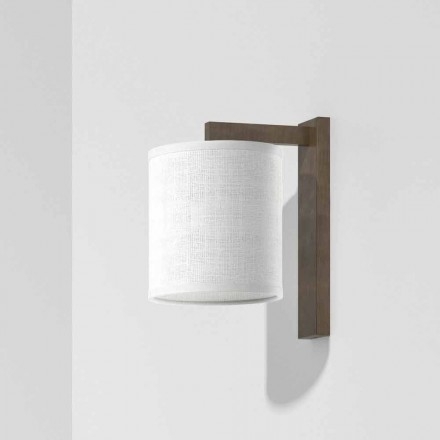 Modern vägglampa av metall med lampskärm av linne Tillverkad i Italien - Bali