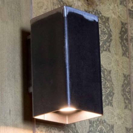 Handgjord fyrkantig vägglampa i svart järn tillverkad i Italien - Cubino