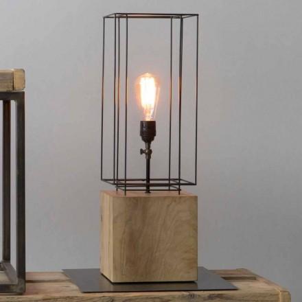 Handgjord järnbordslampa med träbas tillverkad i Italien - olivträd