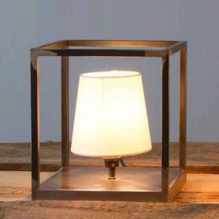Handgjord järnbordslampa med lampskärm Made in Italy - Cubola