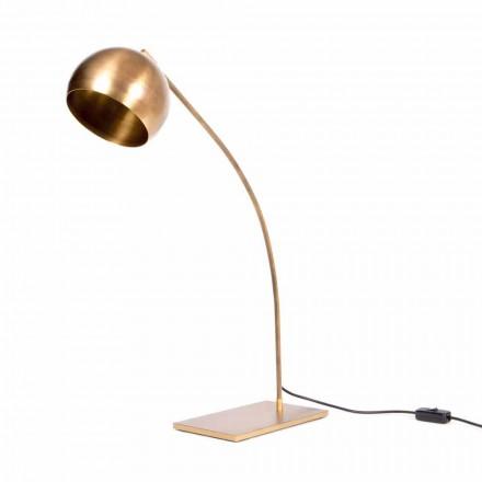 Handgjord bordslampa i järn och lackerad mässing tillverkad i Italien - Brina