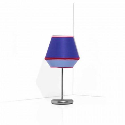 Blå bordslampa med förkromad metallkonstruktion Tillverkad i Italien - Soya