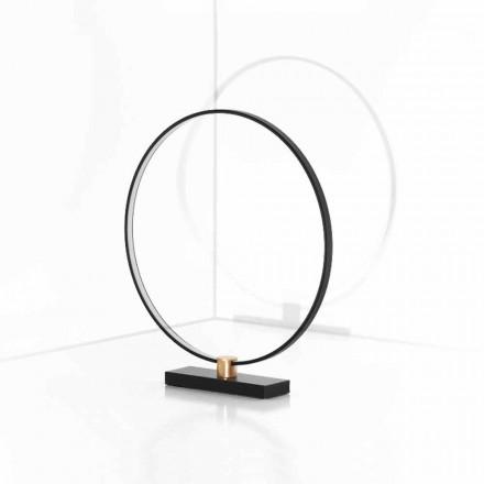 Design bordslampa i svart aluminium och mässing tillverkad i Italien - Norma