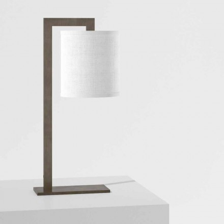 Design bordslampa i metall och vitt linne Made in Italy - Bali