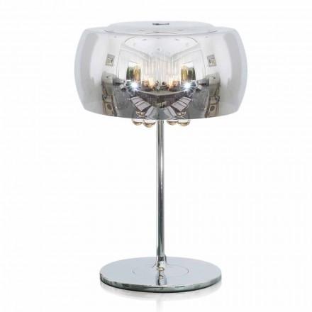 Design bordslampa i glas, kristall och kromad metall - Cambria
