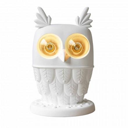 Bordslampa i matt vit keramik 2 lampor Modern design Uggla - Uggla