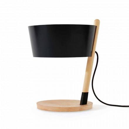 Bordslampa i bok med detaljer i metall och vegan läder - Avetta