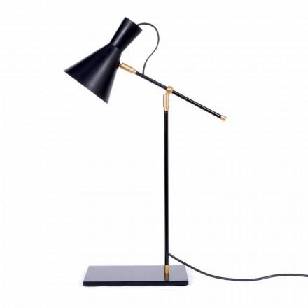 Bordslampa i järn och aluminium Matt svart färg tillverkad i Italien - Malita