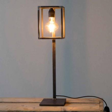 Svart järnbordslampa med bomullskabel tillverkad i Italien - unik