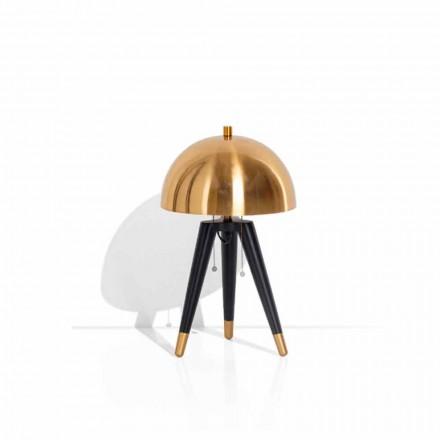 Bordslampa i svart metall och borstad mässing tillverkad i Italien - Peter