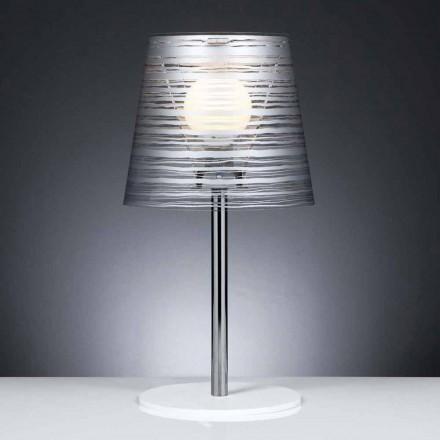 Samtida bordslampa med silver dekoration, diameter 30 cm, Shana