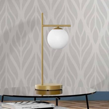 Modern bordslampa i mässing och glasfinish Tillverkad i Italien - Carima