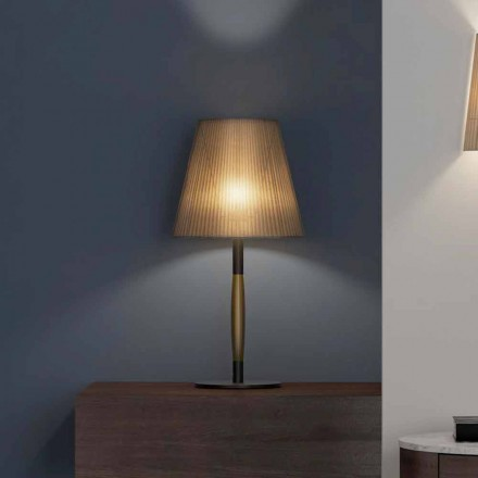 Modern bordslampa i metall, trä och organza tillverkad i Italien - bom