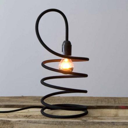 Modern bordslampa i koppar belagd i bomull tillverkad i Italien - Fusilla