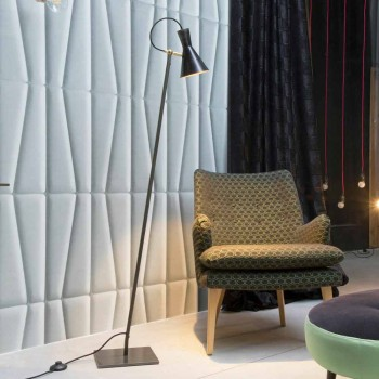 Artisan golvlampa i svart järn och aluminium tillverkad i Italien - Brema