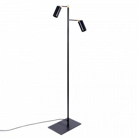 Svart handgjord golvlampa med mässingsdetaljer Tillverkad i Italien - Asterix