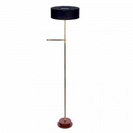 Golvlampa med handgjord svart linsskärm tillverkad i Italien - Aurelia