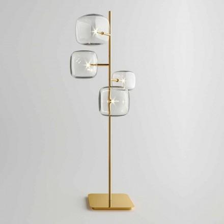 Design golvlampa med blank metallkonstruktion tillverkad i Italien - Donatina
