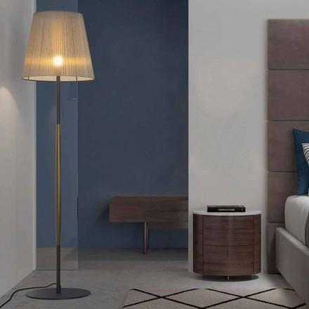 Design golvlampa i metall, trä och organza tillverkad i Italien - bom