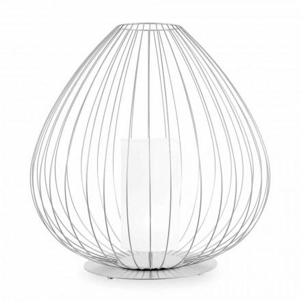 Golv- eller stödlampa i vit eller brons metalltråd - lykta
