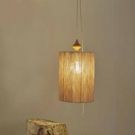 Golv- / fjädringslampa i trä och sandfärg Boisull