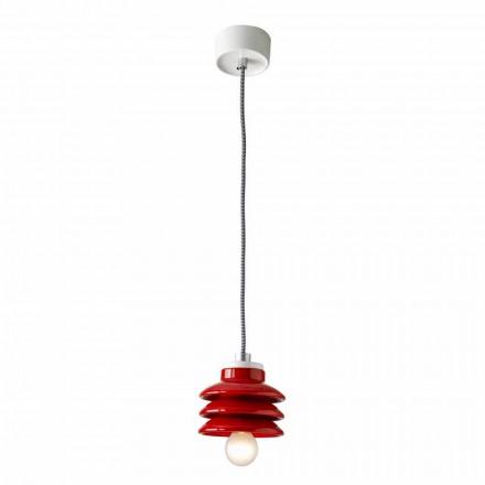 Design hänge lampa i röd keramik gjord i Italien Asien