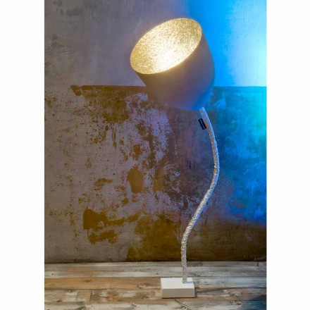 Design golvlampa In-es.artdesign Blomstermålade cement