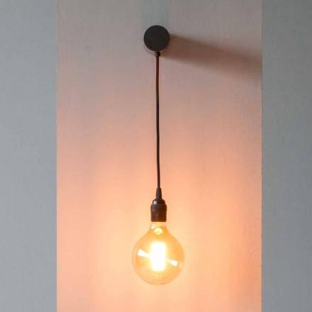 Designlampa i svart järn med bomullskabel tillverkad i Italien - Cladia