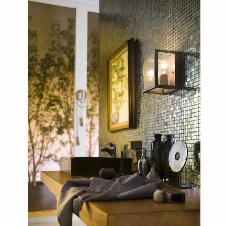 Industriell lampa i mässing och glas panel Il Fanale
